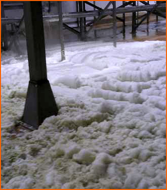 Foam overspill caused by vegetable washing