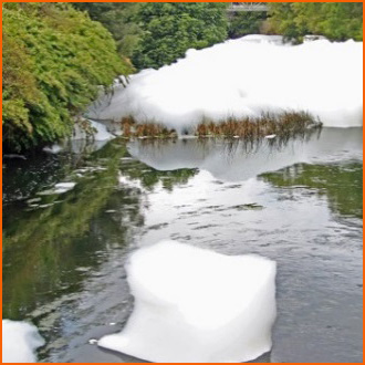Escaping foam causes environmental damage